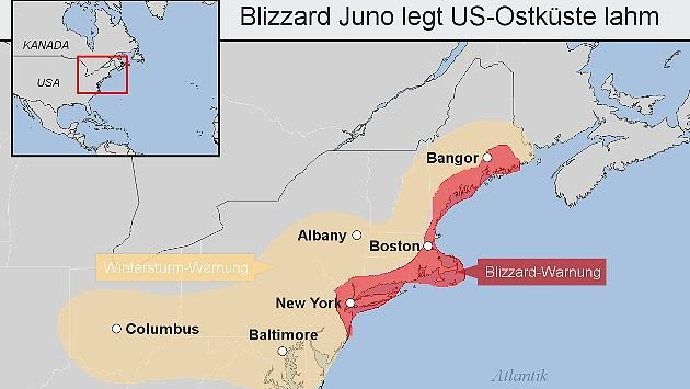 """Gewaltiger Blizzard trifft die US-Ostküste! Schneesturm """"Juno"""" im Live-Ticker! Kein Auto darf mehr fahren - Notstand: Blizzard legt New York lahm http://www.focus.de/panorama/wetter-aktuell/blizzard-juno-im-news-ticker-gewaltige-schneefront-ueberrollt-ost-kueste-der-usa_id_4432547.html"""