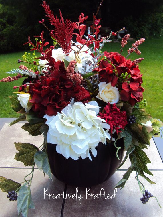 Perfect for the livingroom this fall!     Large Black Pumpkin Fall Floral Wedding by KreativelyKrafted, $75.00