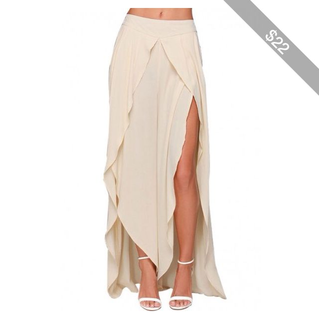 LUCLUC Beige High Low Chiffon Maxi Skirt