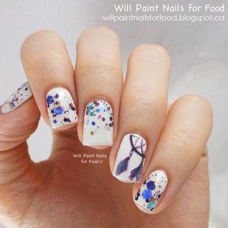Glitter: Lumina Lacquer Dreamcatcher #nailart #splatternails #nails #white #blue - bellashoot.com