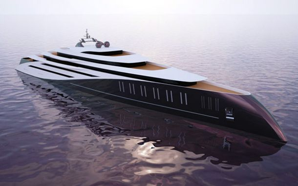 The Devenport.  The sleek design isn't the only cool thing about this high tech yacht. It also has an indoor pool, drive-in garage, and even a night club.