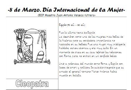"""Un nuevo colaborador, Manu Sánchez Montero """"El maestro Manu"""" delCEIP """"Maestro Juan Antonio Velasco"""" de Utrera (Sevilla). Se trata de untrabajo que van a realizar en su colegio para el día de la Mujer.Son 20 fichas sobre algunas de las mujeres más influyentes e importantes en la historia. Las van …"""