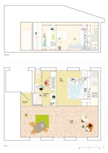 Desenho mostra a configuração da casa quando o quarto está em uso, bem como a capacidade de armazenagem do closet