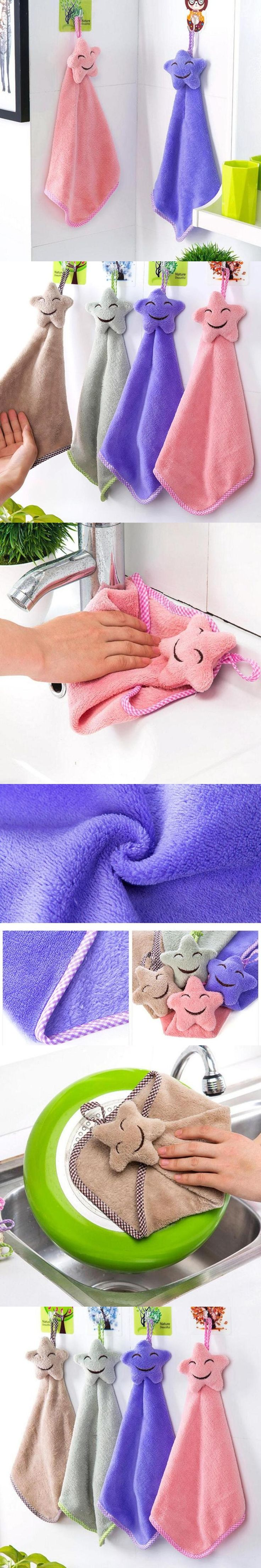 Soft Plush Fabric Hand towel Lovely star Wipe Hanging Bathing Towels for kitchen soft Towel cleaning cloth  20