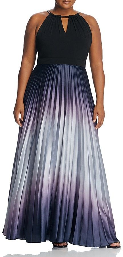 Plus Size Pleated Ombré Maxi Dress