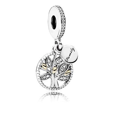 A beautiful representation of how families are connected through many generations, PANDORA's lovely family tree dangle with stone-encrusted leaves and genuine 14k gold details, is the perfect token of family love. #PANDORAcharm