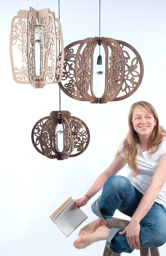 Easy to ship and assemble, these elegant wooden flat-pack lights evoke natural forms and patterns.