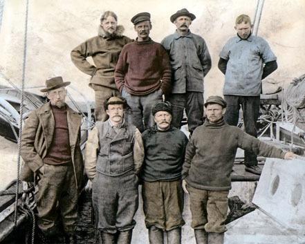 "Captain Roald Amundsen Crew on Board The Gjoa 8x10"" Hand Color Tinted Photo"