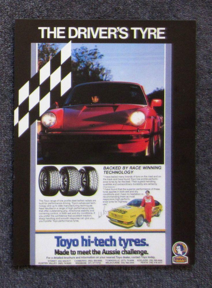 TOYO TYRES 1986 Auto Car Magazine Page Sales Advertisement Ad Brochure PORSCHE