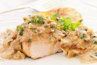 Chicken with creamy mushroom, sage, thyme and garlic sauce