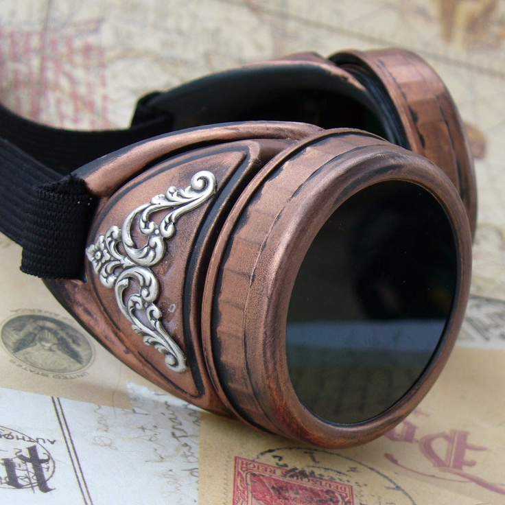ARRIVAL of  the YEAR 1846 --  Victorian Steampunk goggles. $34.99, via Etsy. -- Not really into goggles (for myself... like them on others, but I look goofy in them. ;) :P ) but these ones I might consider wearing! XD  They're really pretty. :)