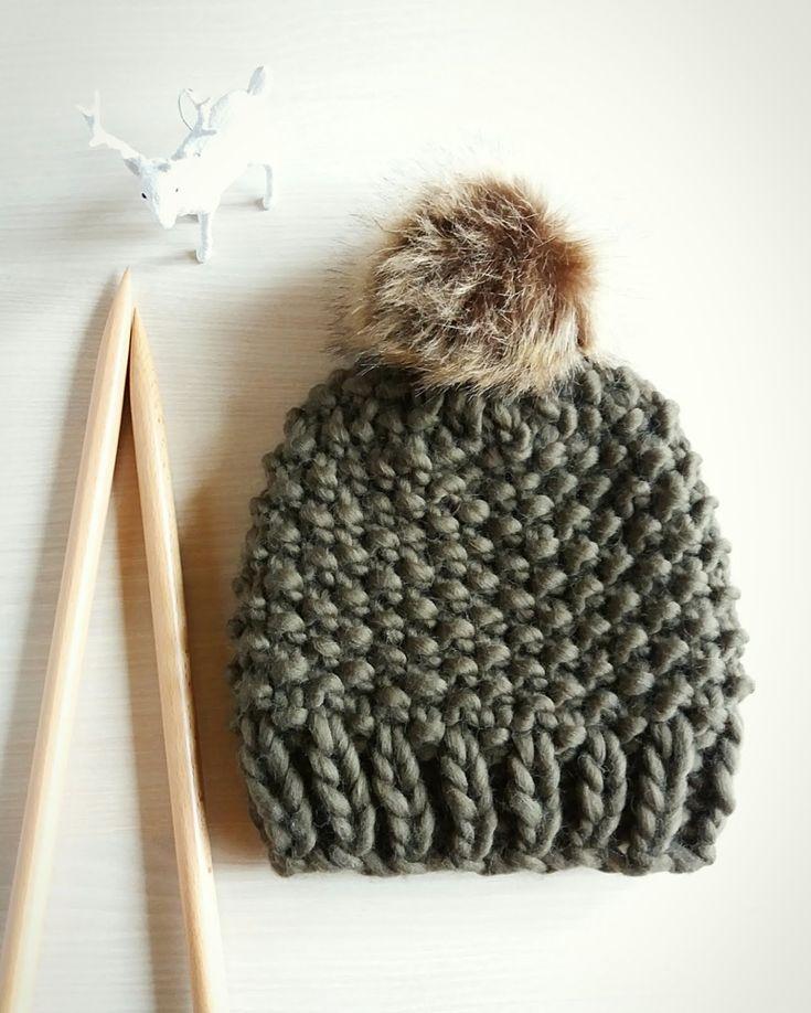 Padrão de gorro de malha 3-passo ~ Knit Beanie Pattern em 3 etapas