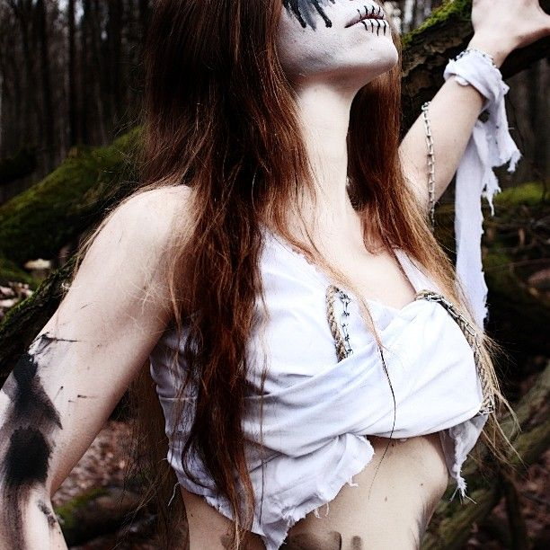 Beware! The nixie from the logo is real! #costumes #nixie #ghost #forest #photosession #corpsepaint