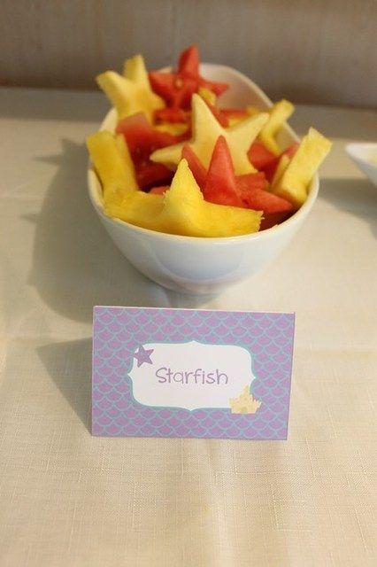 """Star Fish"" (Star shaped watermelon & pinapple) - Bubble Guppies Party Food"