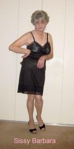 Sissy Barbara wearing a black full  slip