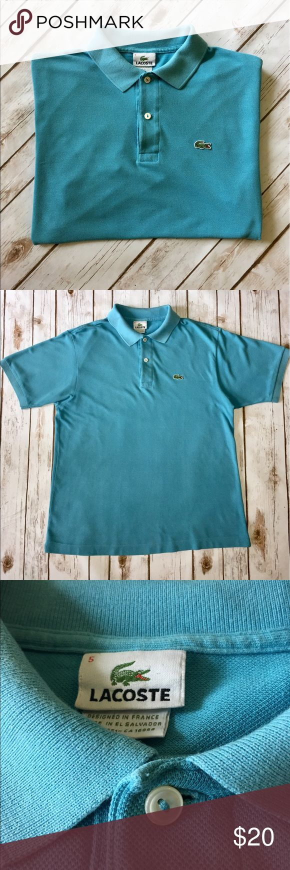 Lacoste - Men's Short Sleeved Polo - Medium Lacoste - Men's Short Sleeved, Aqua Colored Polo (5 = Medium U.S.) In exceptional preowned condition. Please be sure to check out all of my other men's items to bundle and save. Same day or next business day shipping is guaranteed. Reasonable offers will be considered. Lacoste Shirts Polos