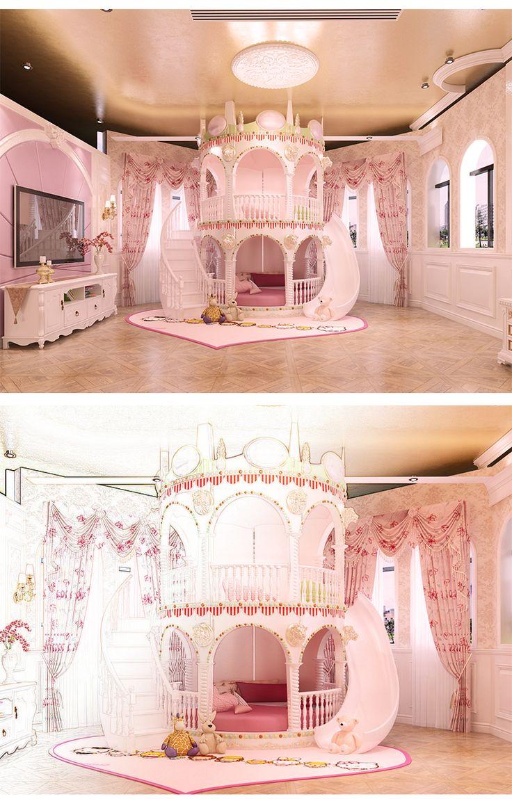 Chambre Princesse Fille Enfants de Diapositives Lit, belle Unique Rose Château Lit Filles Meubles