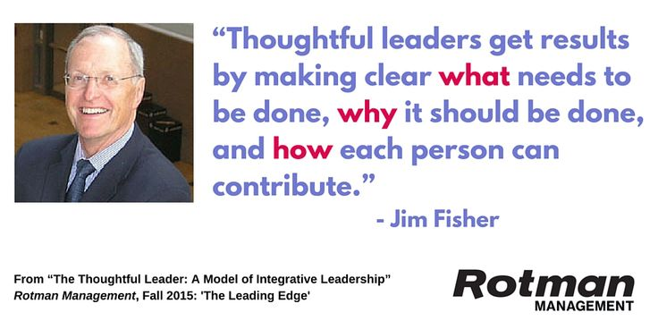 """""""The Thoughtful Leader: A Model of Integrative Leadership"""" by Jim Fisher, Rotman Management, Fall 2015"""