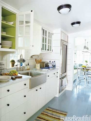 Spring Decorating Ideas - Spring Home Decor - House Beautiful: Idea, Inside Cabinets, Color, Paintings Cabinets, Glasses Doors, White Cabinets, Kitchens Cabinets, Paintings Floors, White Kitchens