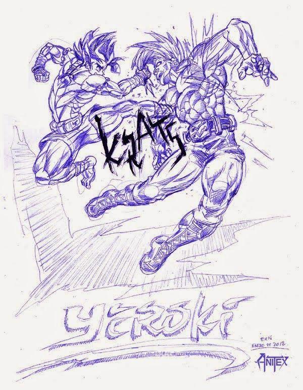 YEROKI: Dibujo de Protagonista [Pateando a su oponente] por EKN   EKN: Mis Dibujos de Anime Manga