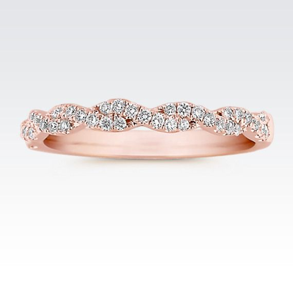 This delicate rose gold wedding band will beautifully complement your engagement ring. #ShaneCo #ShaneCoSparkle