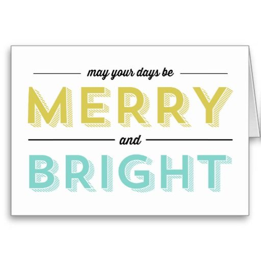 Green and Blue Merry & Bright Christmas Cards