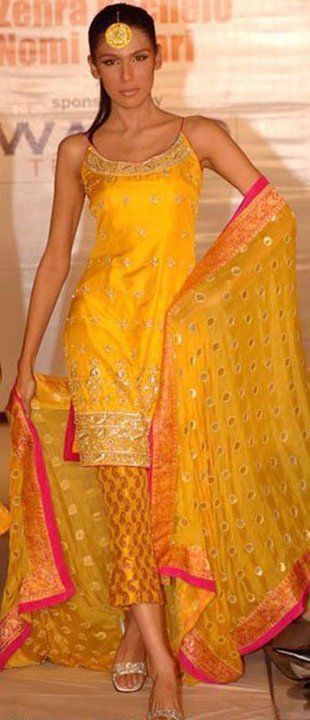 Yellow and Pink Mehndi Kameez