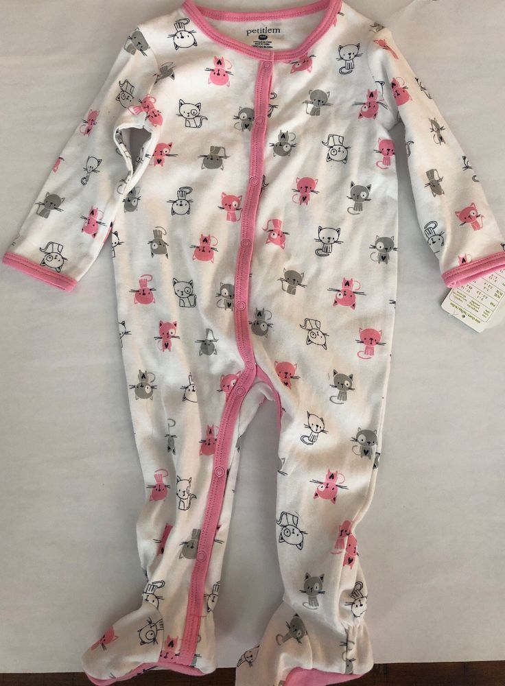 06969faf7 PETIT LEM Baby Girl s Kitty Printed One Piece Footie Outfit 9 MONTHS ...