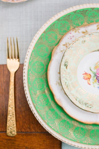 Vintage china and gold plated silverware.   Photography: Rhythm Photography - www.rhythm-photography.com
