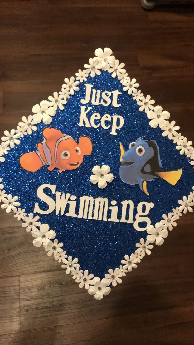 College graduation cap, just keep swimming, Finding Nemo, Nursing cap - #college #finding #graduation #nursing #swimming -