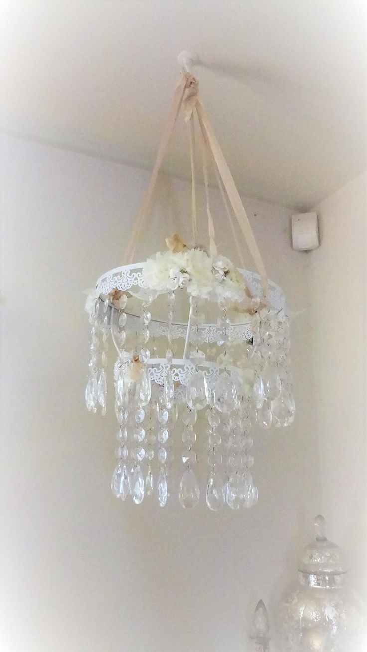 Excited to share the latest addition to my #etsy shop: Shabby Chic Chandelier, Nursery Chandelier, Crystal Mobile, White Chandelier, Romantic Chandelier, Accent Chandelier, Bertha Louise Designs http://etsy.me/2AF9kUu #housewares #homedecor #white #beige #entryway #babyroomchande