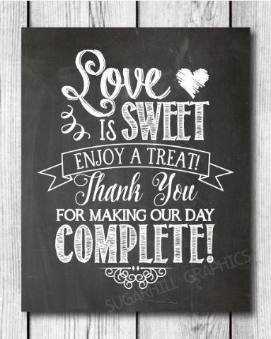 sweet chalkboard wedding sign