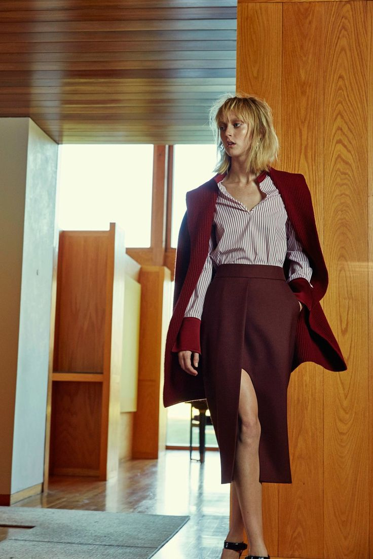 Wear #marsala instead of #black. Use different textures to make the #outfit impressive!