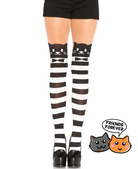 Medias de Gatos a Rayas en Blanco y Negro #cats #gatos #kawaii #kitty #xtremonline