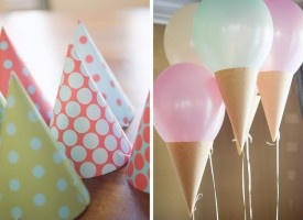 Ice cream balloons!  Party hat makes the cone...2 year birthday party here we come.