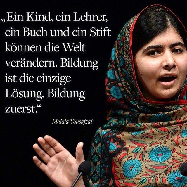 Bildung Sollte Jedem Zustehen Ich Freue Mich Sehr Heute Hat Die Erst 17 Jahrige Pakistanische Kinderrechtsaktivistin Malala Yousafzai In