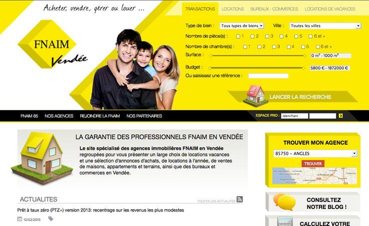 FNAIM VENDEE - CONCEPTION DU SITE (2012) : analyse des besoins, conception et réalisation du site web, accompagnement webmarketing.
