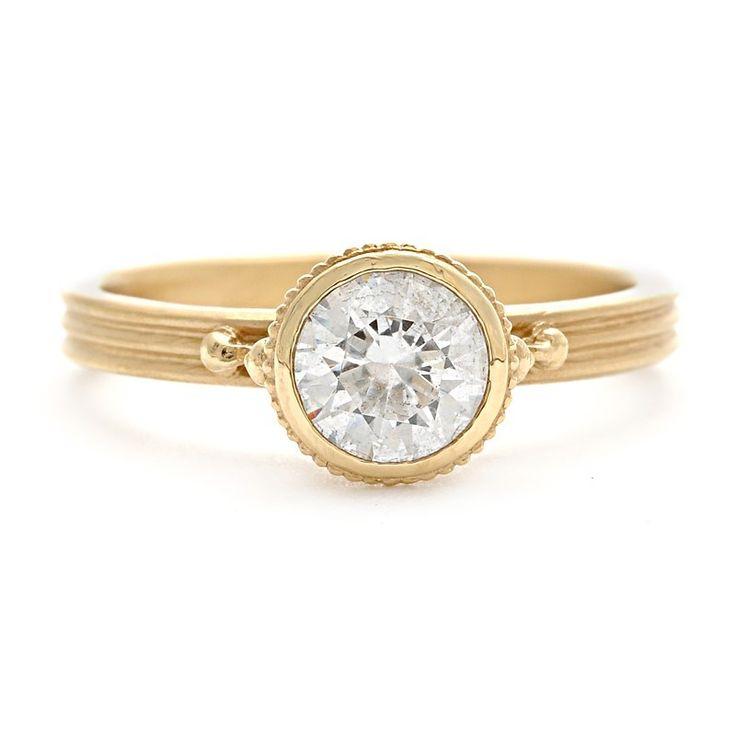 Megan Thorne Bezel-Set Engagement Ring Setting with Milgrain Details