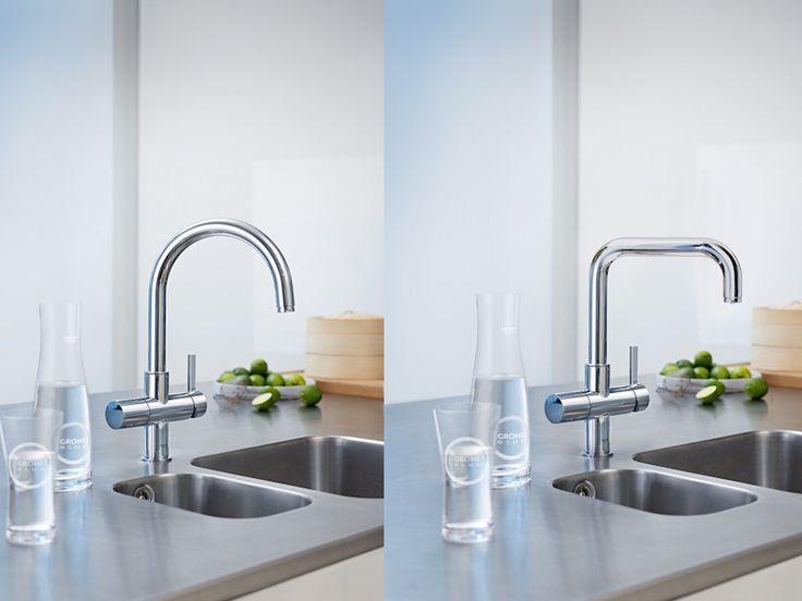 Gefilterd en gekoeld drinkwater uit de keukenkraan met de mogelijkheid tot bruisend water. Grohe Blue Home kraan #keuken #kraan #grohe