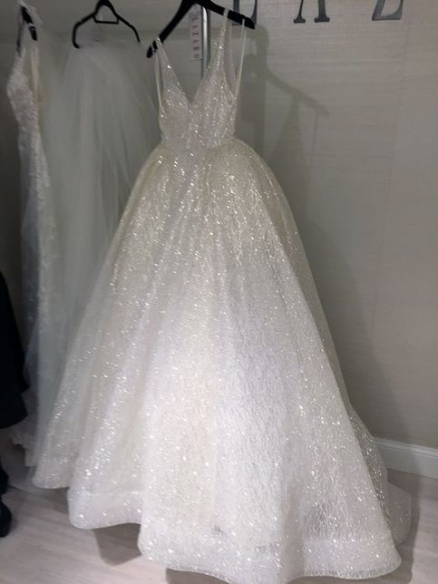 9351a41daa4e Sparkly V Neck White Long Prom Dress Ball Gown sold by wendyhouse on  Storenvy