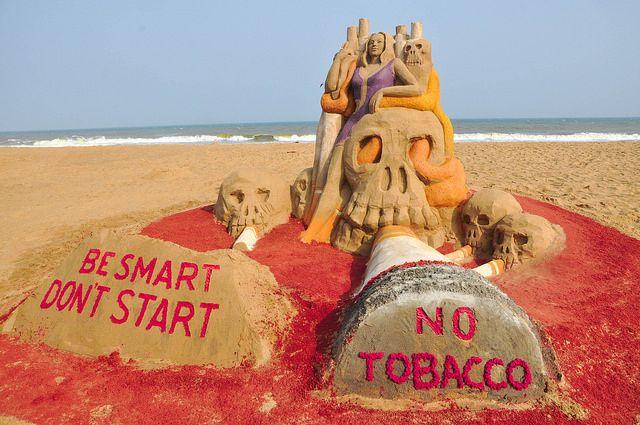 Anti-Tobacco Day, Sand artist Sri Manas Kumar Sahoo's Sand Sculpture spread awareness PURIWAVES