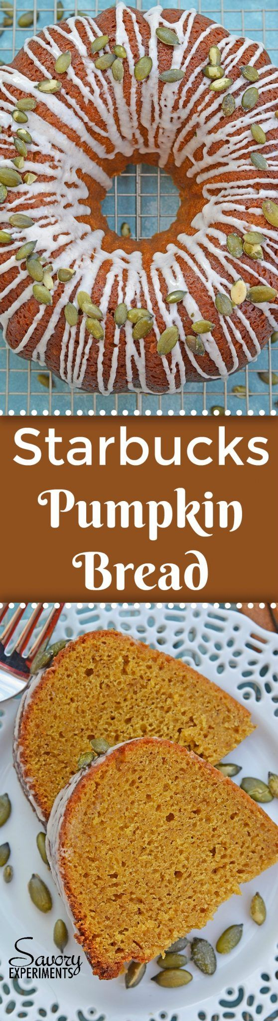 Copycat Starbucks Pumpkin Bread is a moist and flavorful pumpkin pound cake perfect for pairing with a pumpkin spice coffee! #pumpkinbread #pumpkinpoundcake www.savoryexperiments.com via @savorycooking