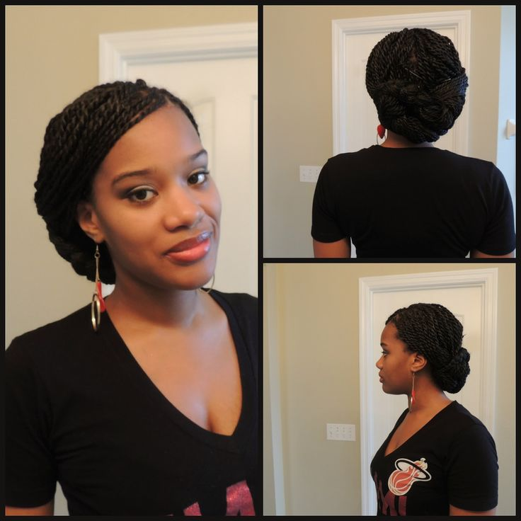 Senegalese Twist (Briaded low bun) | Braids and Senegalese ...