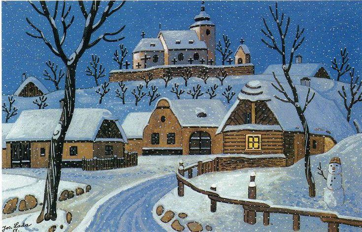 winter village, painted J.Lada, Czech painter