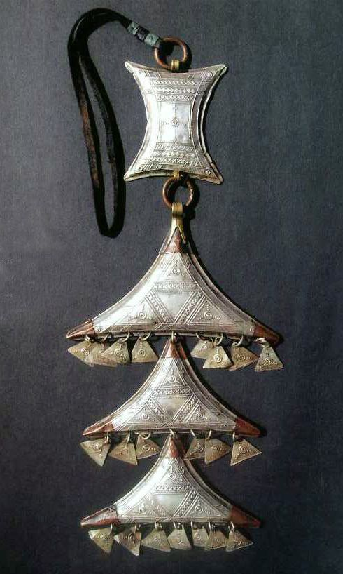 "Africa | Temporal Amulet ""Terewt""; silver, copper and brass 