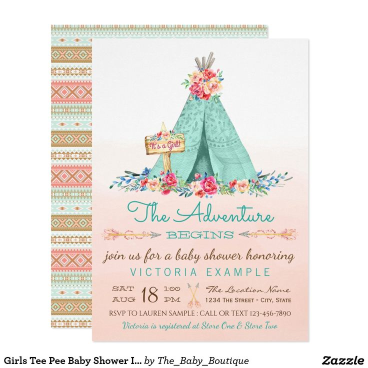 Girls Tee Pee Baby Shower Invitations