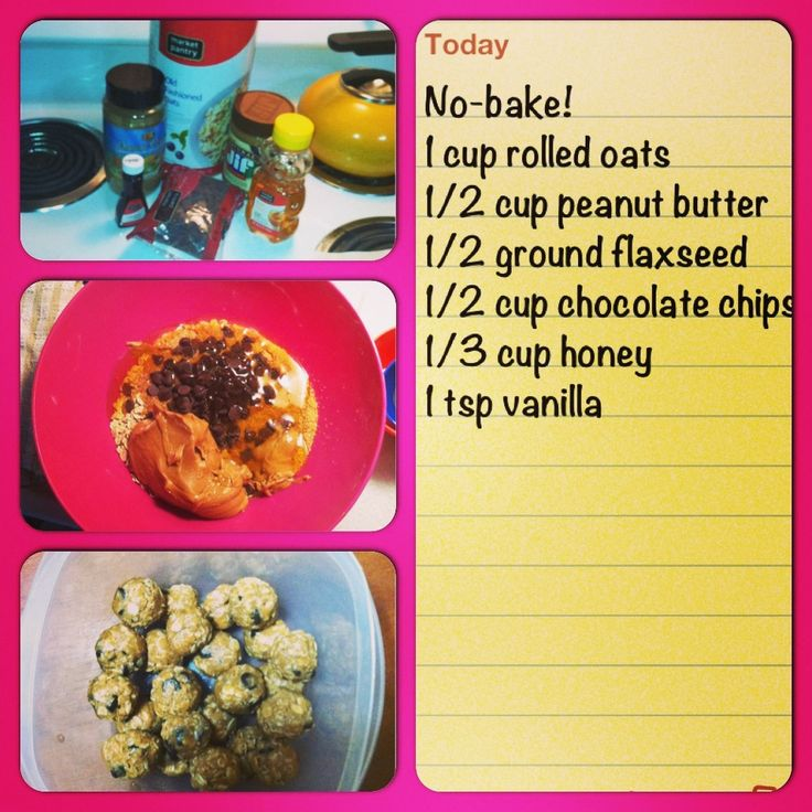 Healthy snack to boost milk supply & energy! No bake lactation cookies: combine ingredients, chill for 20min, roll into balls, store in airtight container in fridge for a week.