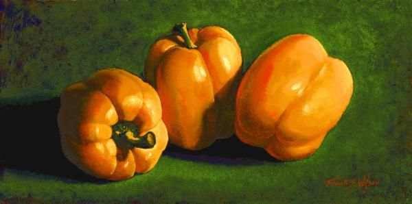 """""""YELLOW PEPPERS"""" is a 6 x 12 inch original oil painting on a hardboard panel. The original painting has sold. Museum Quality Prints are available in several sizes on your choice of two canvases, five canvas wraps, seven different papers, 1/4 inch acrylic and even on 1/16 inch polished metal!  5 x 7 inch greeting cards are also available."""
