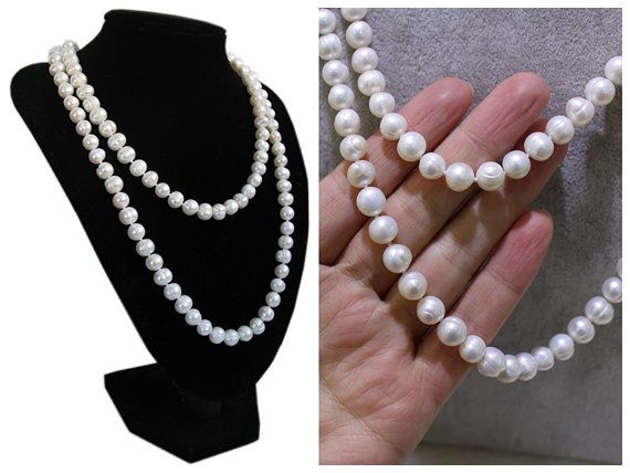 long pearl necklaces,52 inches ivory pearl necklaces,freshwater pearl necklaces,pearl jewelry,wedding necklace pearl,girl friend gift, 6mm