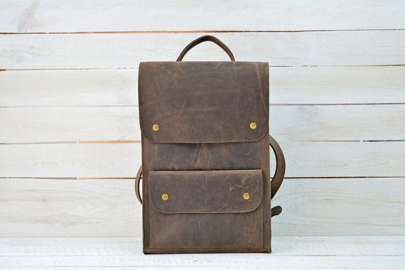 Mens backpack / Leather backpack / Hipster backpack / Vintage leather backpack…